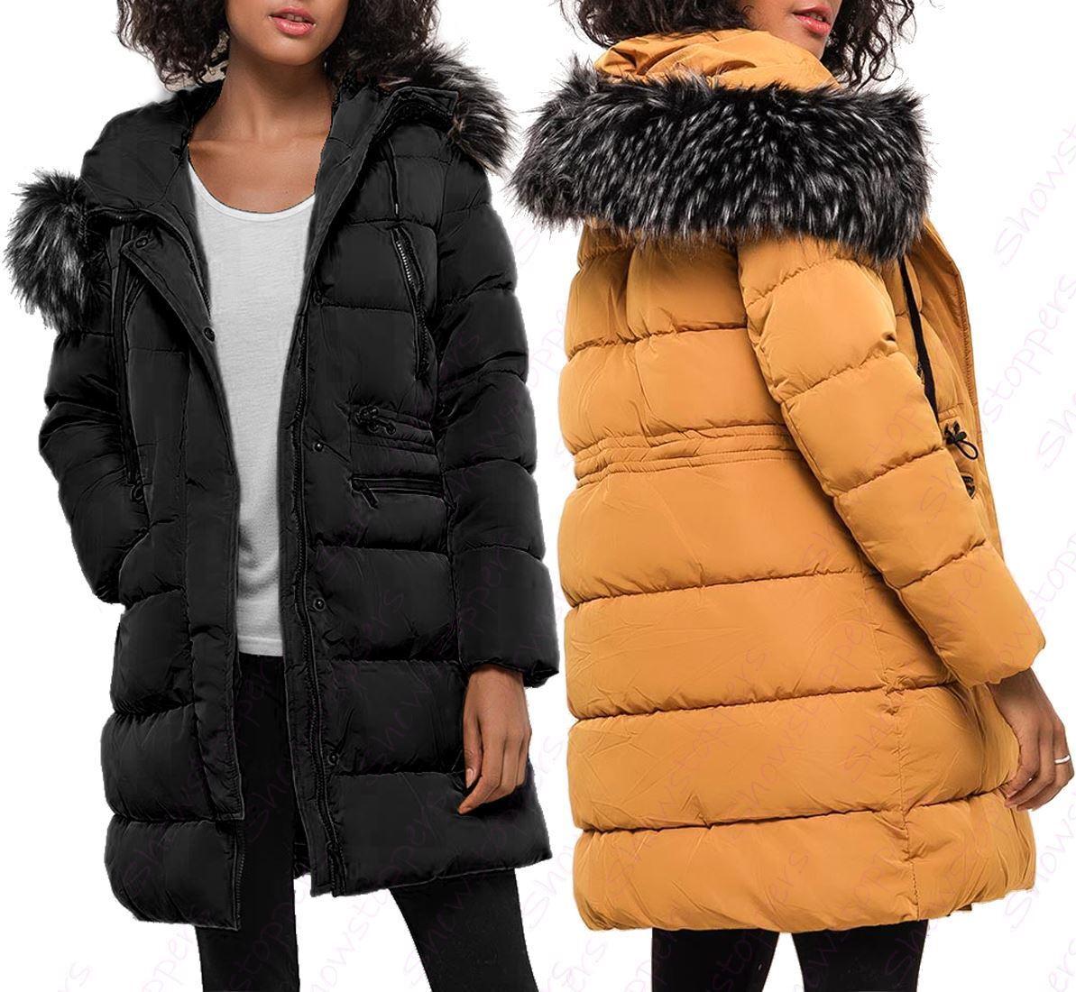 Womens Faux Fur Padded Coat Hooded Parka Mustard Size 8 10 12 14