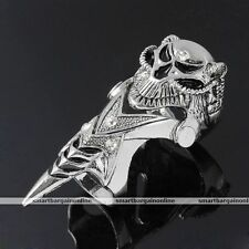 Men Crystal Skull Head Metal Armour Knuckle Double Full Finger Ring Punk Jewelry