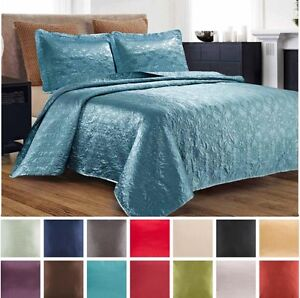 3-Piece-Silky-Satin-Quilted-Bedspread-Coverlet-Set-King-Queen-Size-LOOK-Colors