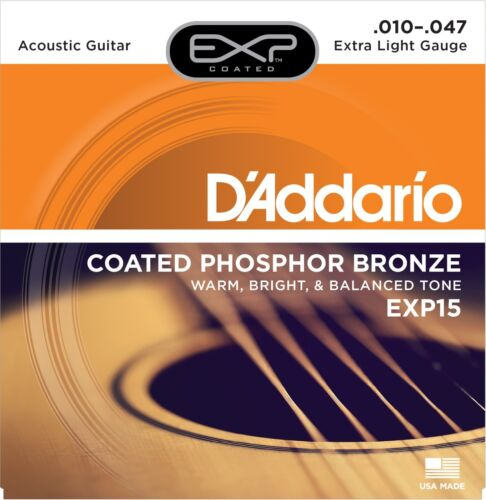 Extra Light D/'Addario EXP15 Coated Acoustic Guitar Phosphor Bronze Strings