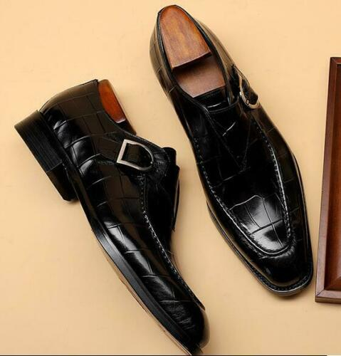 Details about  /Mens Dress Formal Leather Shoes Business Square Toe Buckle Banquet Crocodile New