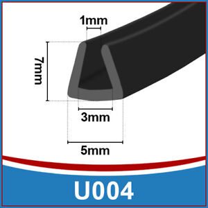 Rubber-U-Channel-Edging-Edge-Flexible-Trim-Seal-Fits-1mm-to-3mm-Black