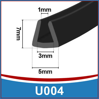 Rubber U Channel Edging EdgeFlexible Trim Seal Fits 1.5mm to 3mmBlack