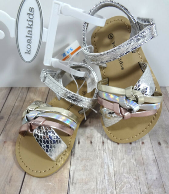 Kids Girls Sandals Shoes Size 4 Koala Metallic Holographic Strappy Shoes