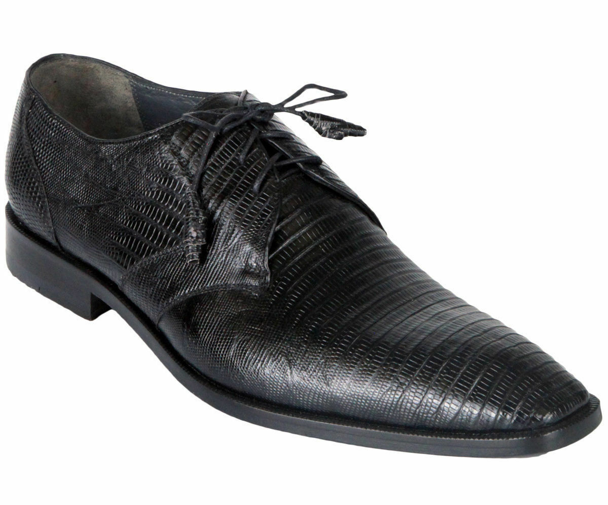 LOS ALTOS GENUINE BLACK TEJU LIZARD OXFORDS DRESS SHOE D