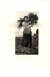 La Claneuse by Jules Breton & Martial '77 / Etching Antique Art Print [Inv#HB186