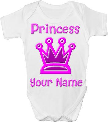 PINK PRINCESS CROWN PERSONALISED BABY VEST GRO //BODYSUIT **GREAT NAMED GIFT**