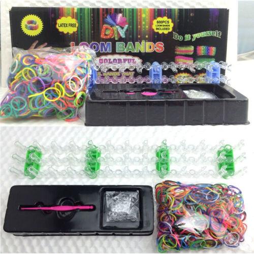 DIY LOOM BANDS BRACELET MAKING KIT INCLUDES 600 RUBBER BANDS LOOM S CLIPS /& TOOL