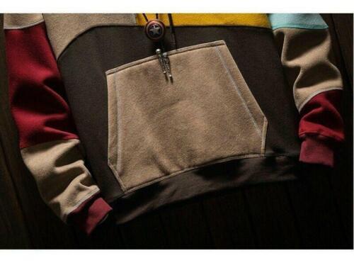 Men Jumper Hooded Color block Hoodies Tops Pullover Long sleeve Korean Cotton