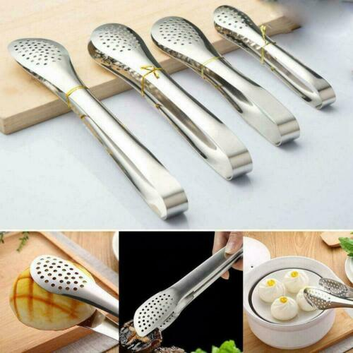 Stainless Steel BBQ Tongs Barbecue Cooking Salad Serving Buffet Food Clip S5Y7