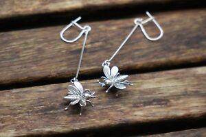 Image Is Loading Sterling Silver Bee Earrings Dangle Long