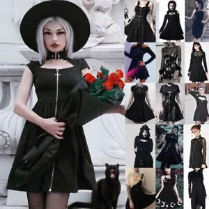 Women-Dark-Punk-Dress-Vintage-Rockabilly-Skirt-Gothic-Steampunk-Cosplay-Costume