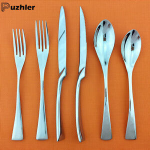 6pcs Pure Silver Flatware Set 18 10 Stainless Steel Knife Fork Spoon