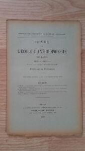Recueil Mensual - Revista ESCUELA Antropología De París - 1899 - N º 9