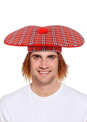 FREE P/&P FANCY DRESS TAM-O-SHANTER+HAIR TARTAN SCOTLAND SCOTTISH HAT