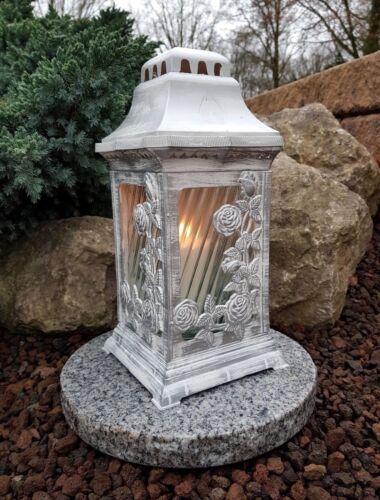 LED Kerze Sockel Grablampe Lampe Grableuchte Granit Grablicht Grablaterne