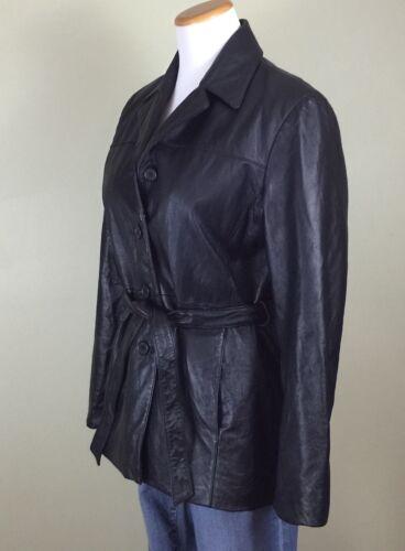 Outbrook Great Bæltecoat Look Læder Small Jakke Kvinders Sz S Sort 1Urq1