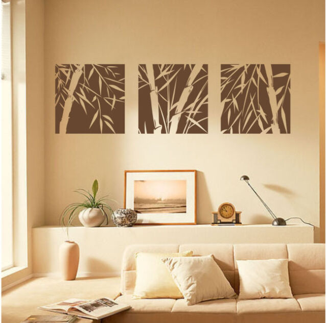 3 Large Pcs Bamboo Removable Wall Art Stickers Vinyl Decal Home Decor Canvas