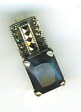 "(25 Sterling Silver Sapphire Blue Cubic Zirconia & Marcasite Pendant Length 5/8"""