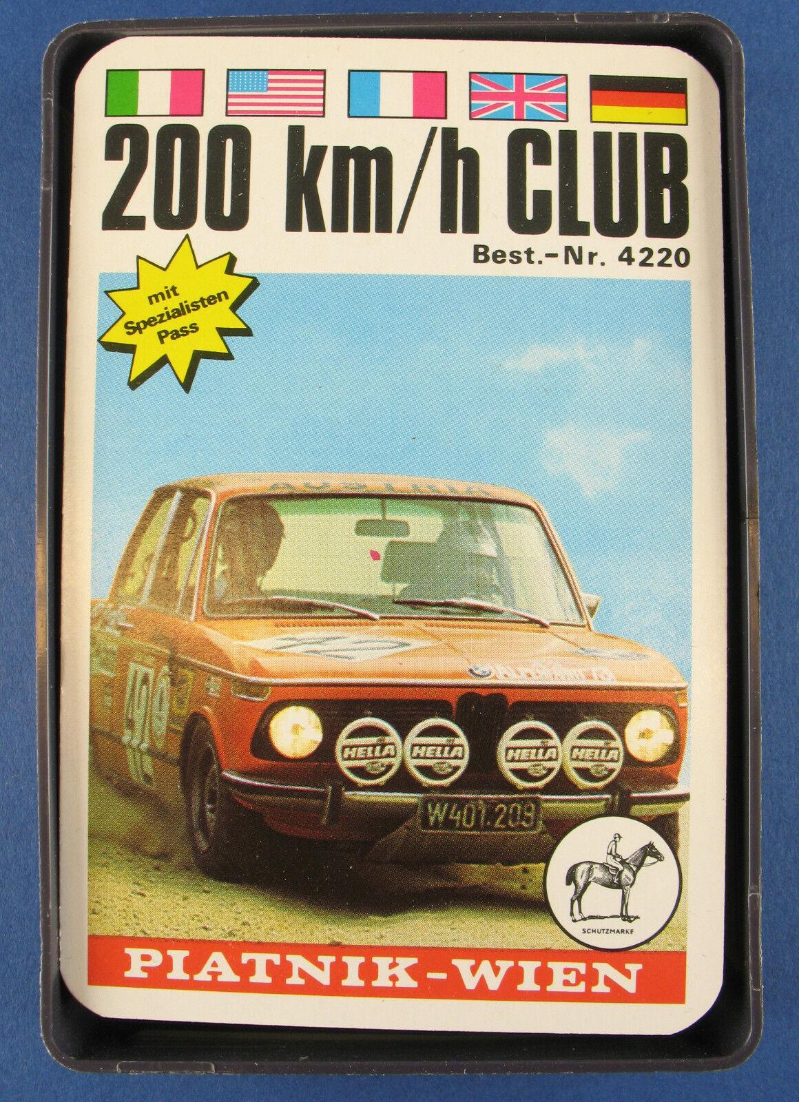 Quartetto - 200 KM H Club-PIATNIK-N. 4220-dal 1974-Auto Gioco di Carte