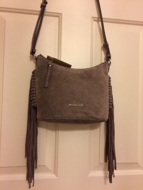 8fb42e93f974 Michael Kors Billy Medium Fringe Suede Leather Crossbody Cinder5652 ...