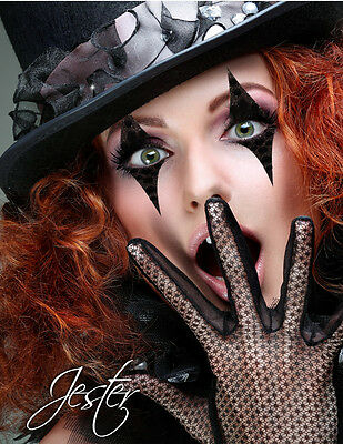 Easy Black Jester Eye/Face Sticker Makeup Glitter Rhinestones Clown Mime Costume