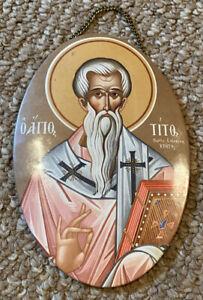 Saint-Titos-Titus-Greek-Orthodox-Oval-Icon-w-Hanging-Chain-4-75-x-7-034-RARE
