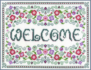Welcome-Sampler-complete-cross-stitch-kit-on-14-aida-with-COLOUR-chart