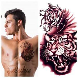 Usa 2pcs Body Art 3d Tiger Faces Rose Tattoo Waterproof Temporary Sticker Ebay