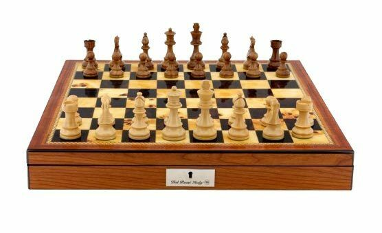 Dal Rossi Italy Staunton Wooden Chess Pieces on Walnut Shiny Finish Chess Box 20