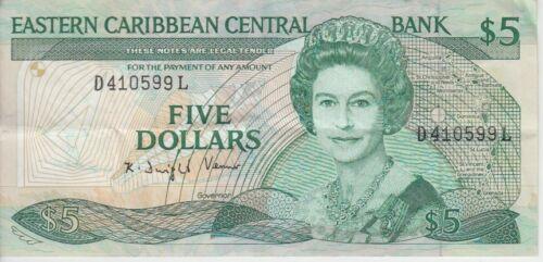 VF Lucia  5 Dollars Prefix D QE II Eastern Caribbean Banknote P22L2 St