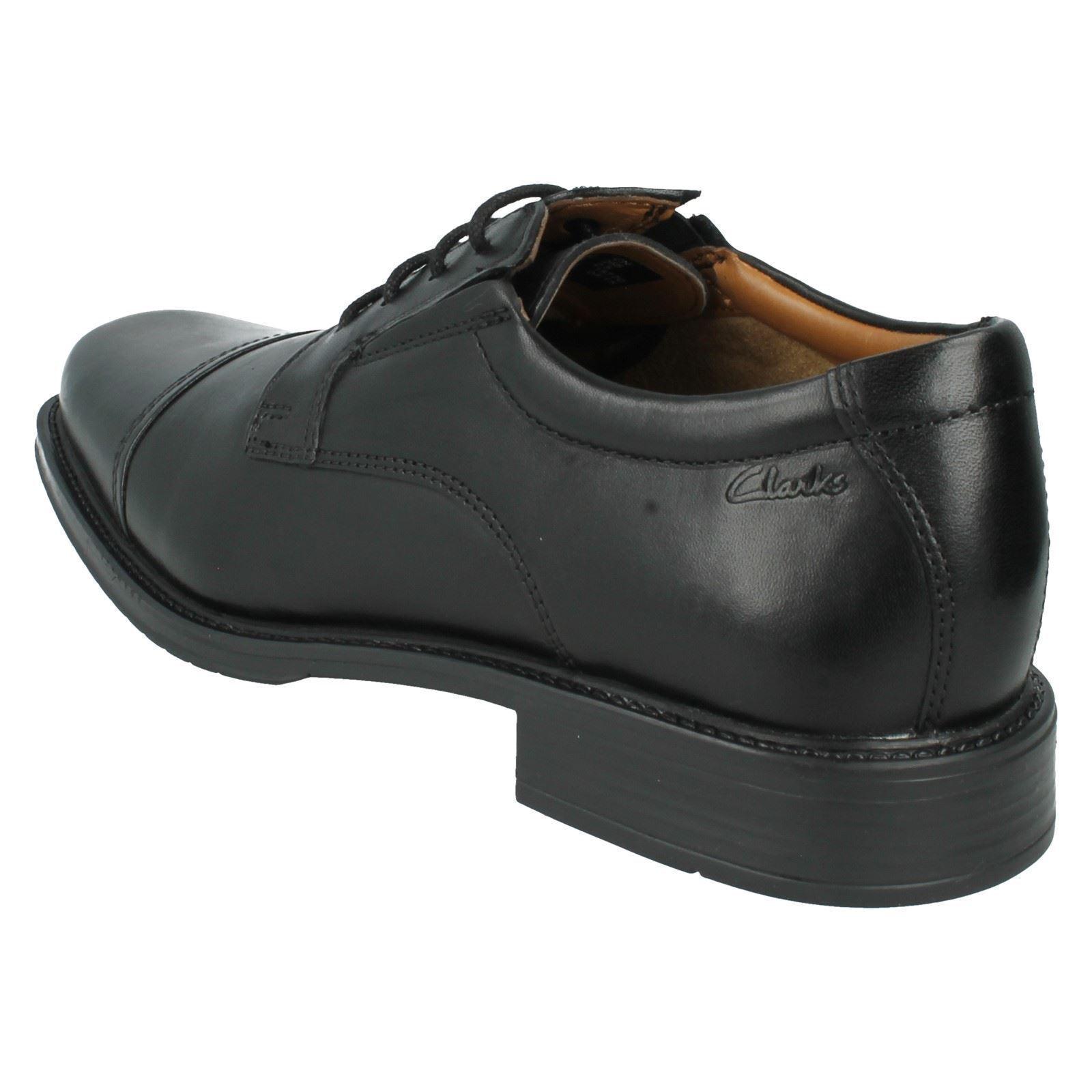 Men's Shoes Clarks Black Leather Smart Shoes Men's - Driggs Cap 3afc20