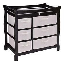 Espresso Sleigh Style Baby Changing Table Diaper 6 Basket Drawer Storage Nursery