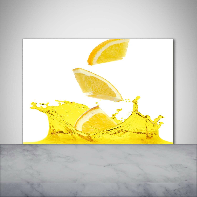 Küchenrückwand Spritzschutz aus Glas 100x70 Essen & Getränke Zitronenscheiben