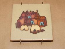 """VTG Cleo TEISSEDRE Southwestern ART Ceramic Pueblo Design Wall Tile or Trivet 4"""""""