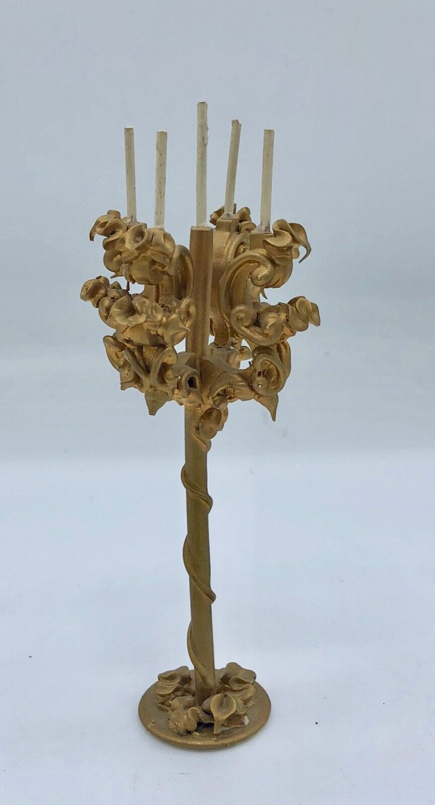 Spielwaren Doll Furniture Four Arm Candelabra Stand with Five Candles in Gold