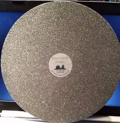 "THK 10/"" 800G Electroplated Diamond Flat Lap Lapidary Polishing Glass Facetor"