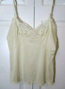 Vintage Silky Nylon Lace Trimmed Camisole sz 36 14 Vanilla Ivory