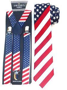 6765d76c07e Image is loading NEW-American-Flag-Mens-Suspender-Necktie-USA-Patriotic-