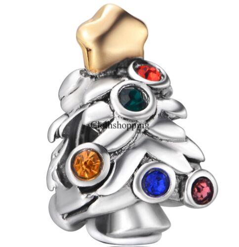 New Christmas Gift Star Enamel Charm For 925 Silver European Bracelet Chain