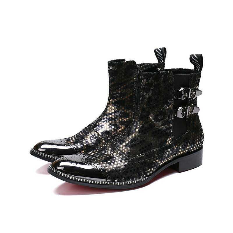 Men Winter Ankle Boots Formal Zip Buckle Strap Leather Winter Punk Rivet shoes
