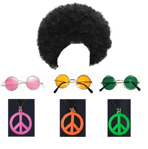 1980s 80s Scouser Black Afro Wig Hippies Peace Necklace Sunglasses Fancy Dress