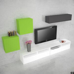 Dettagli su Parete attrezzata moderna per soggiorno salotto Young Color 002  sala pensile