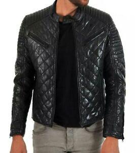 Image Is Loading Men Quilted Leather Jacket Black Fashion Jacket Zara