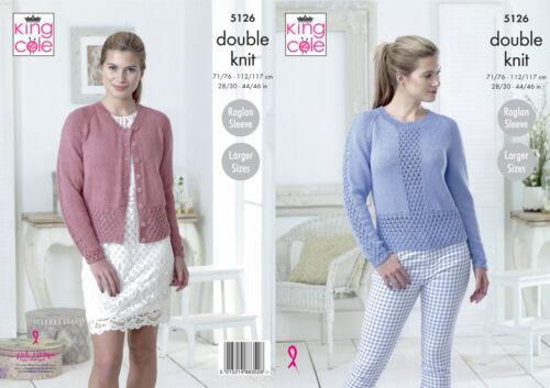 Raglan Manche Dentelle Cardigan Pull Femme DK Knitting Pattern King Cole 5126