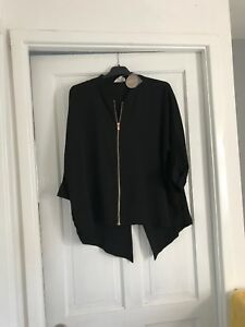 Brand Chiffon New Ladies Bomber Crop Zipped Light Shirt E4daxa