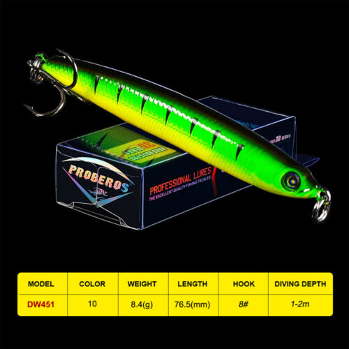 1PC Topwater Minnow Bait 7.6cm 8.4g Plastic Artificial Fishing Lure Trout Tackle