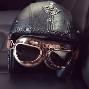 Vintage Motorcycle Helmet Open Face Deluxe Handmade Leather Retro Pilot Goggles