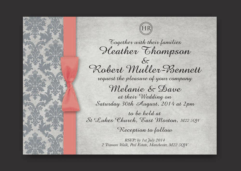 Jour du mariage, soirée invitations inc enveloppes-violet rose chaud bespoke