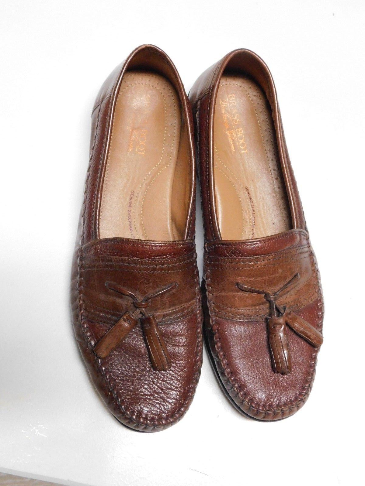 Brass Boots Walking Loafers Glove Sheepskin Leather Tassel Loafers Walking 10.5M 443406
